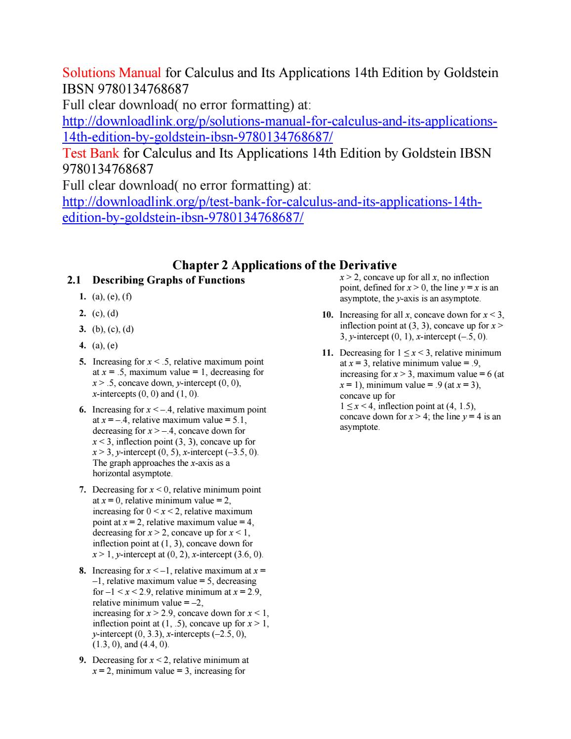 prev Array - solutions manual for calculus and its applications 14th  edition by rh issuu com