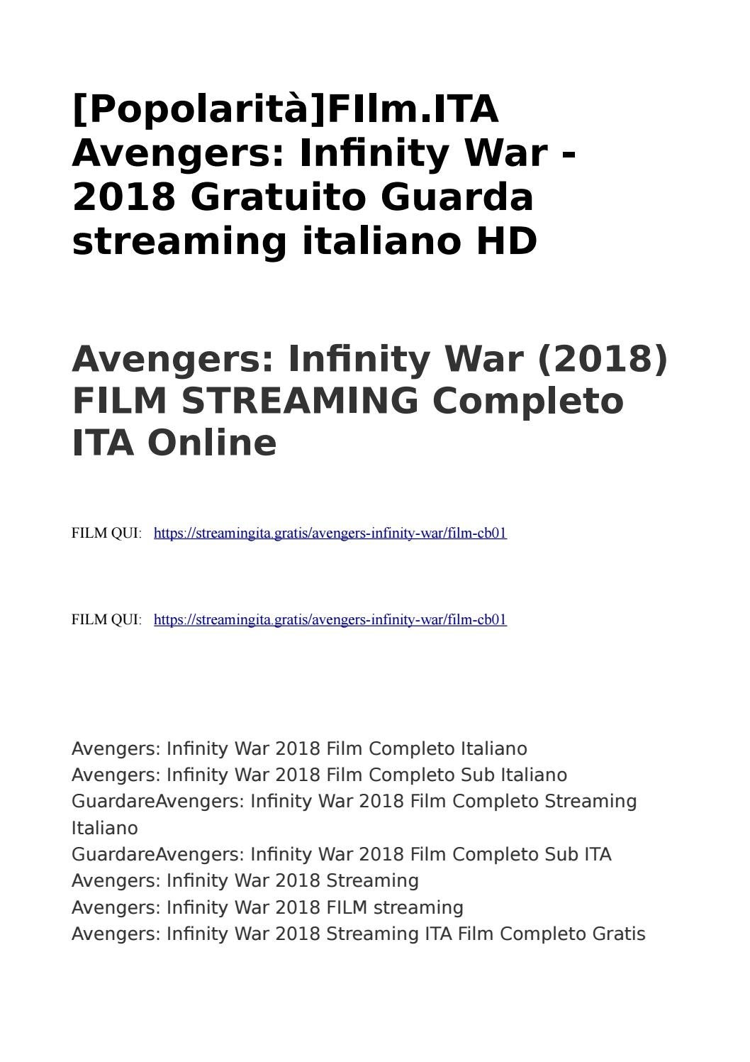 avenger infinity war streaming ita