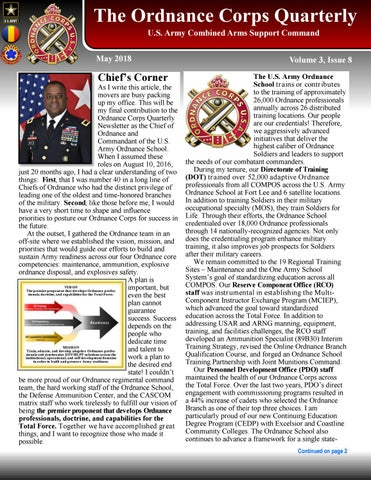 Ordnance Quarterly Newsletter (MAY 2018) by US Army Ordnance Corps