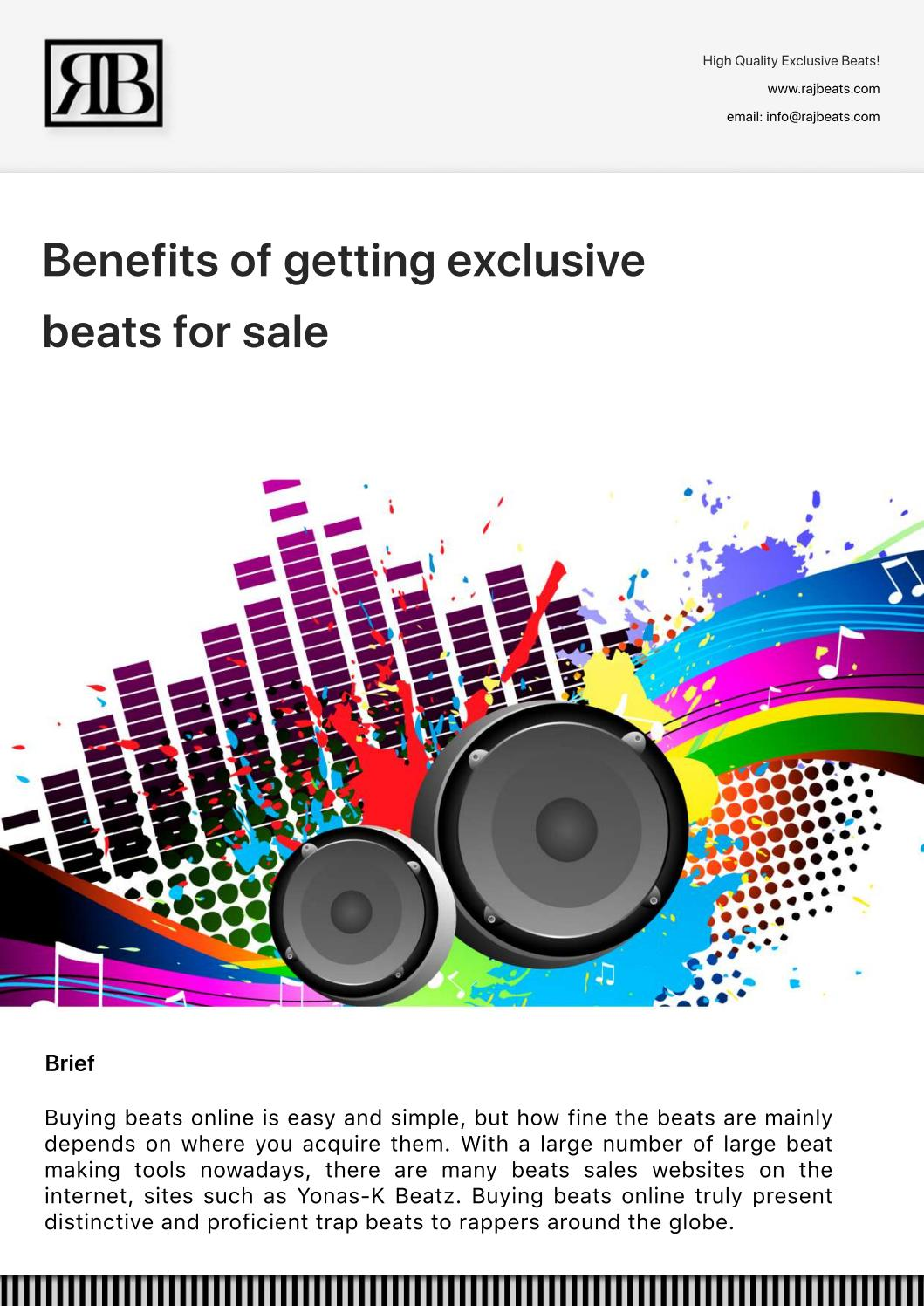 Benefits of getting exclusive beats for sale by