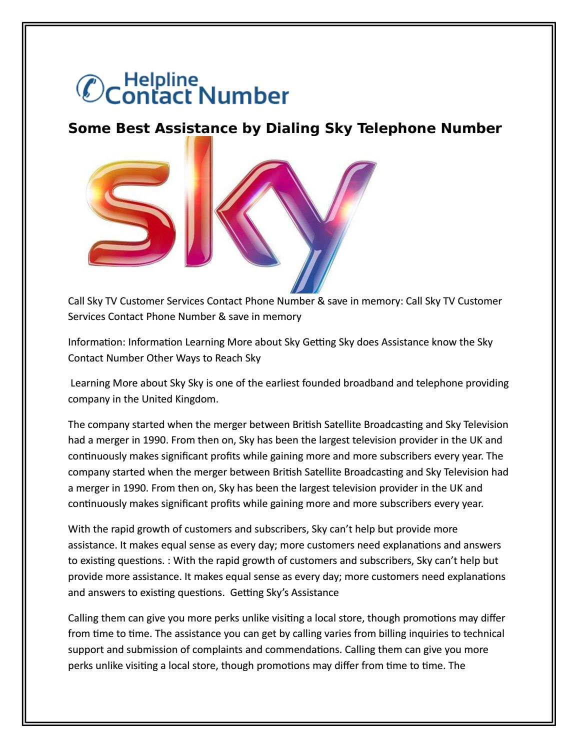 Some Best Assistance By Dialing Sky Telephone Number 1 By Pmikepin Issuu