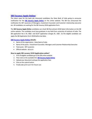 Sbi Vacancy Apply Online By Sahuri Choudhary Issuu
