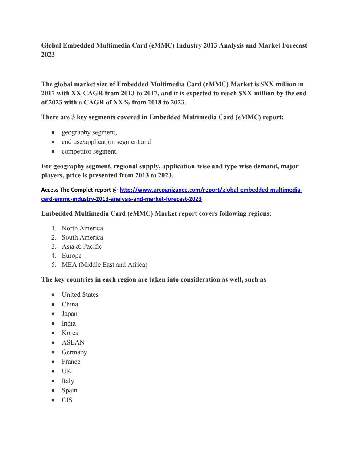 Global embedded multimedia card (emmc) industry 2013