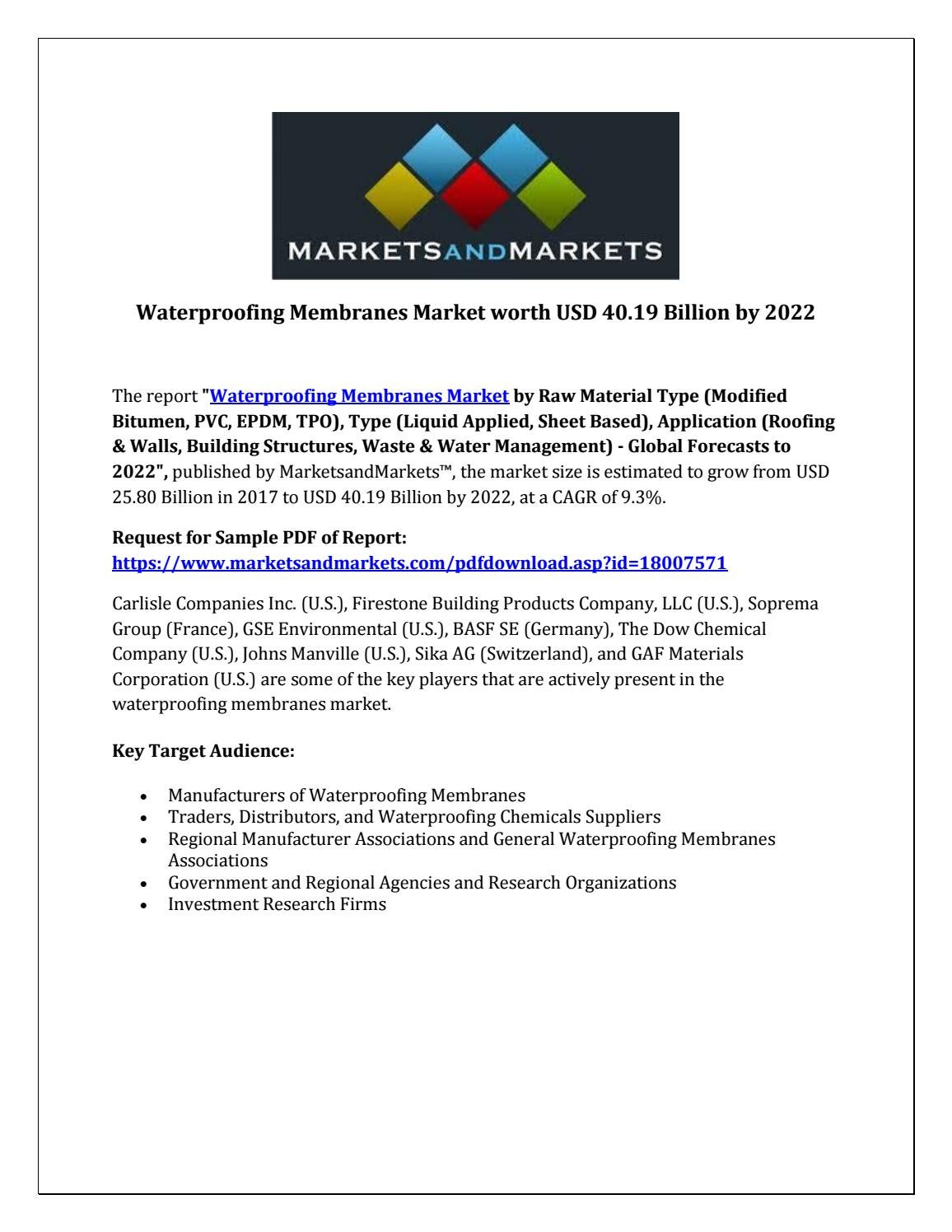 Waterproofing Membranes Market worth USD 40 19 Billion by