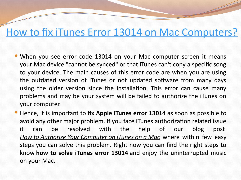 itunes unknown error 13014 mac