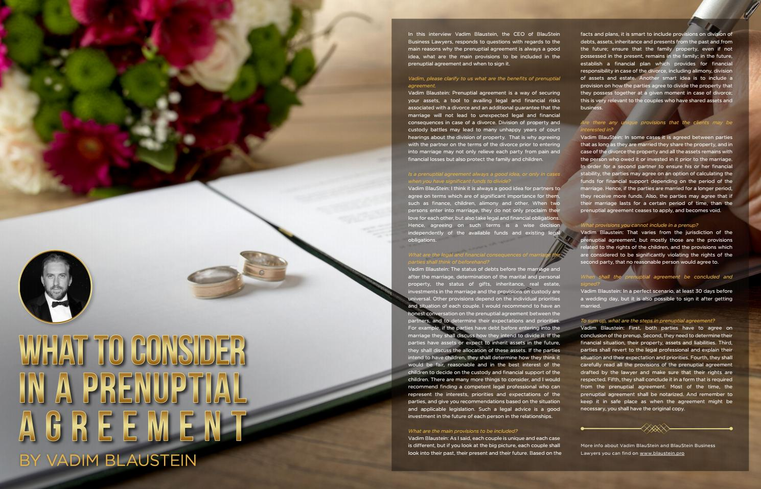 Vadim Blaustein On What To Consider In A Prenuptial Agreement By