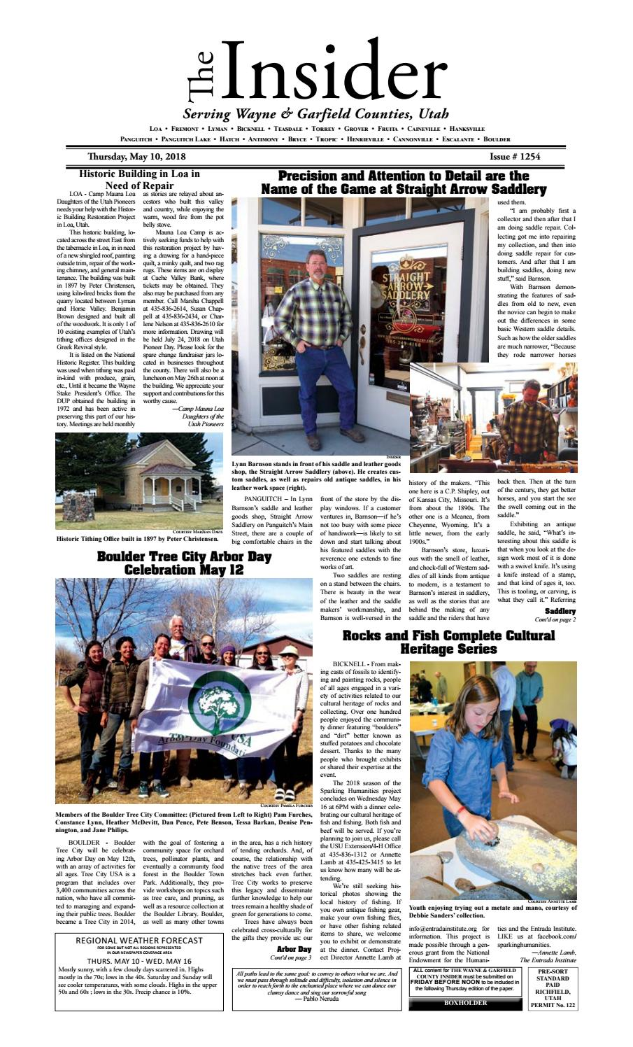 The Wayne & Garfield County Insider May 10, 2018 by Snapshot