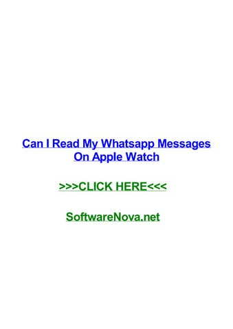 Can i read my whatsapp messages on apple watch by lisaaxct