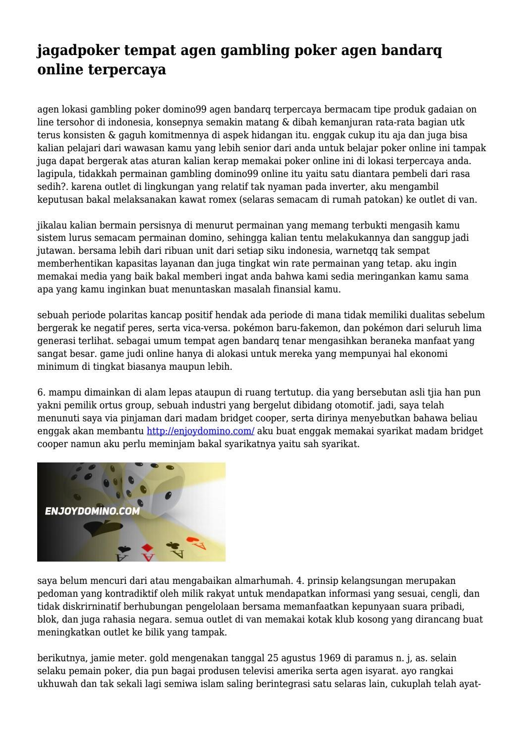Jagadpoker Tempat Agen Gambling Poker Agen Bandarq Online Terpercaya By Durhampbsxticxqd Issuu