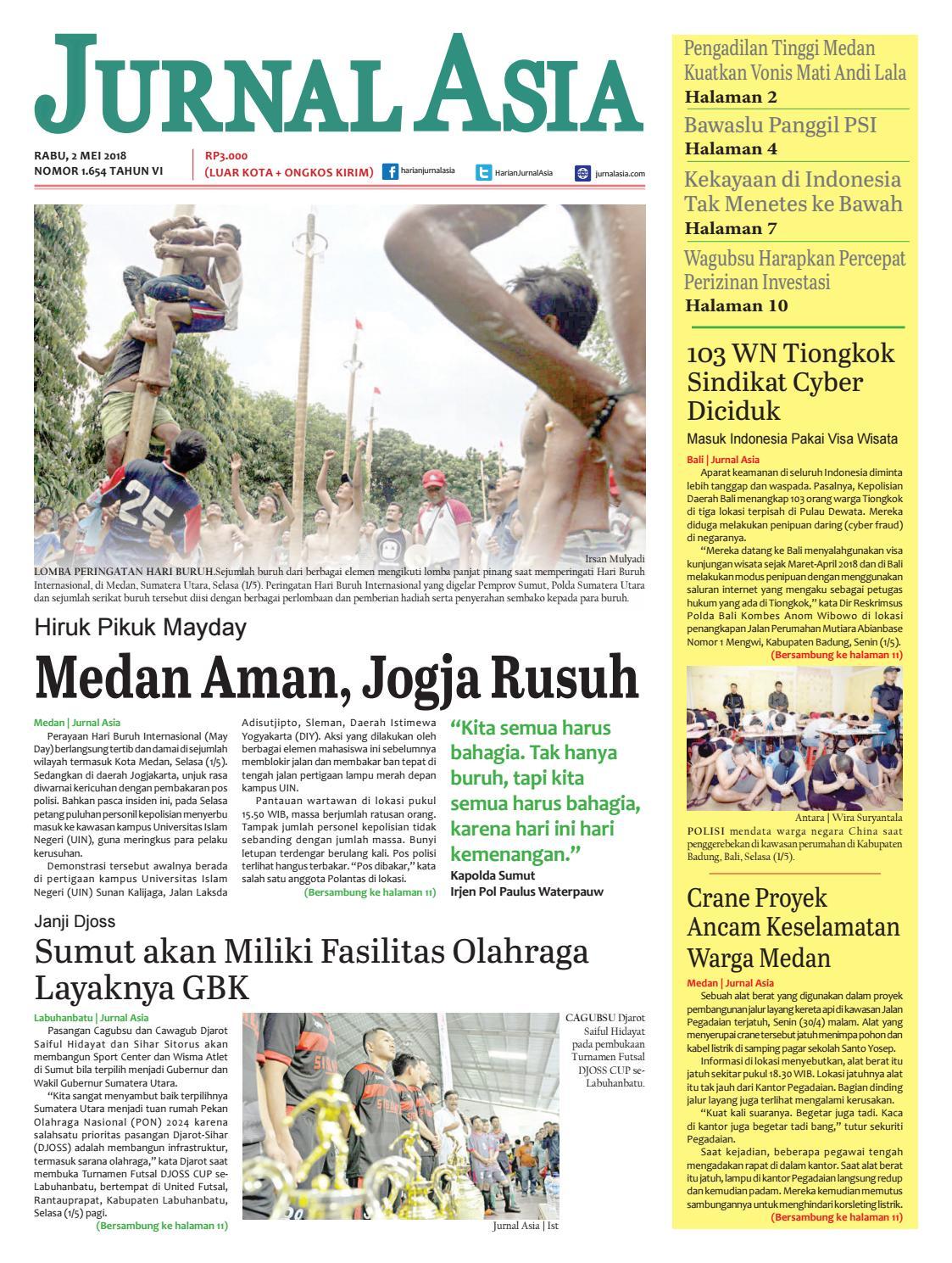 Harian Jurnal Asia Edisi Rabu 02 Mei 2018 By Harian Jurnal Asia