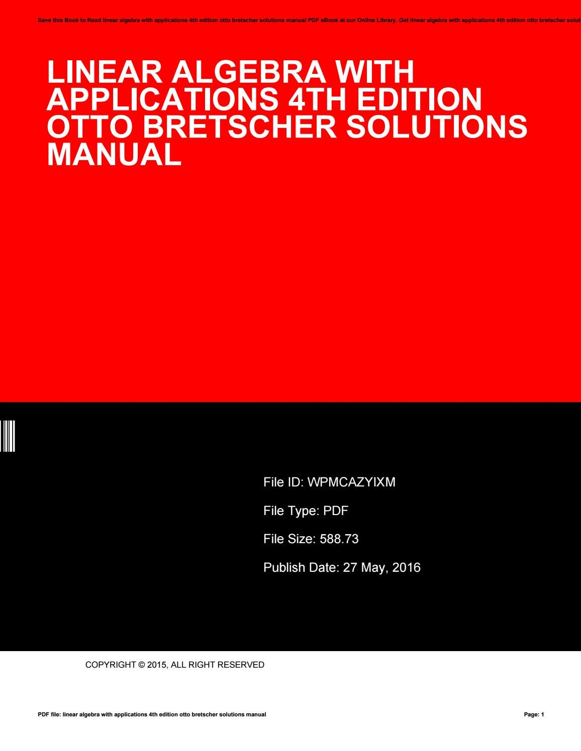Linear algebra with applications 4th edition otto bretscher solutions manual  by xf341 - issuu