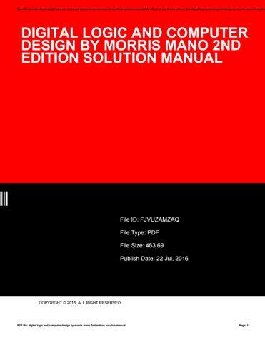 Design morris pdf edition by digital logic mano 3th