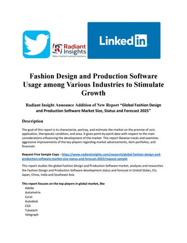 Fashion Design And Production Software Usage Among Various Industries To Stimulate Growth By Nikkhhil Issuu