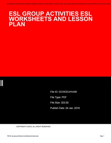 Esl group activities esl worksheets and lesson plan by ty811