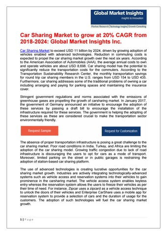 Car Sharing Market Business And Innovation Trends 2018 2024 By