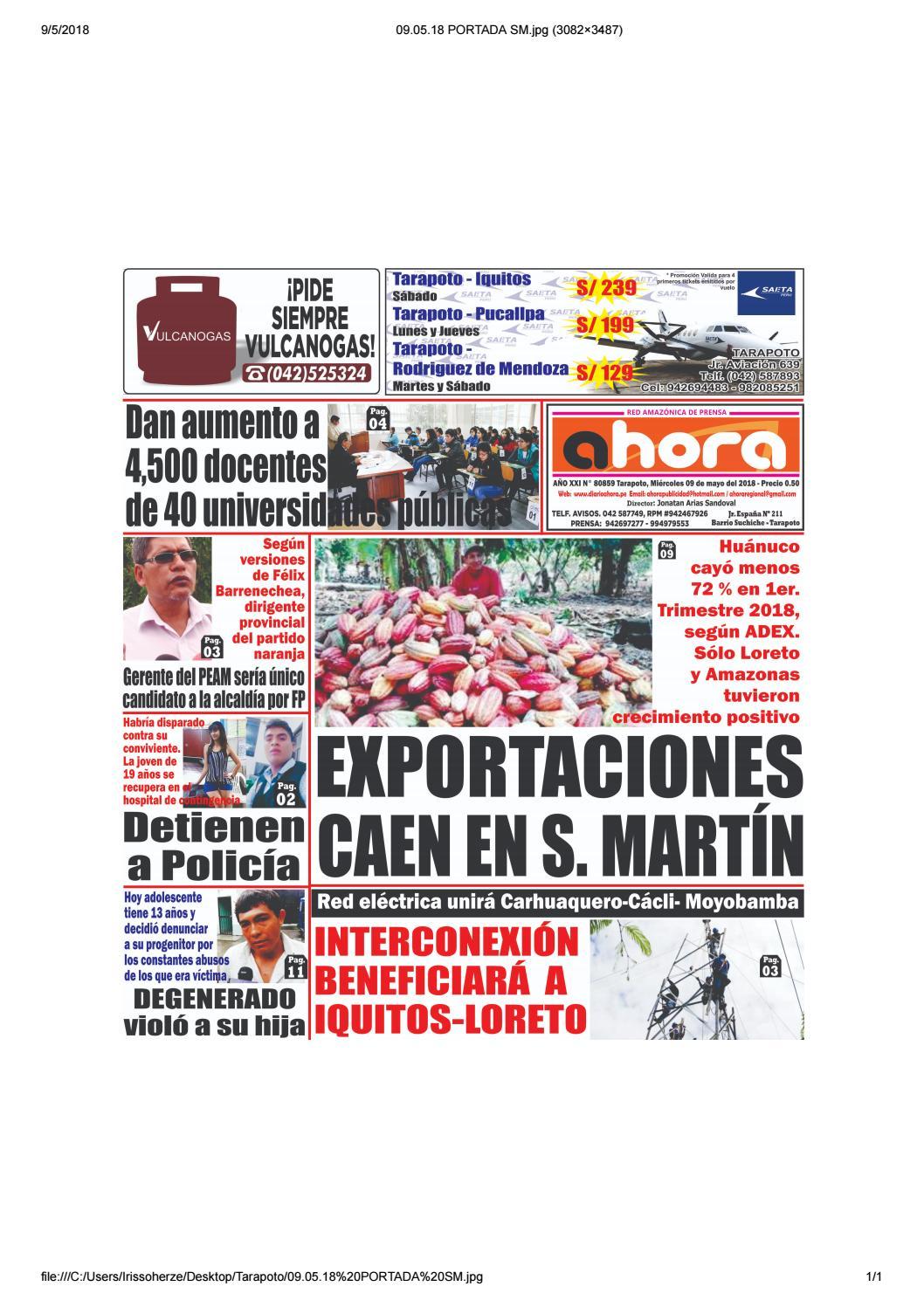 Tarapoto 09 de mayo del 2018 by Jonatan Arias - issuu