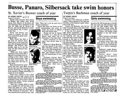 78d8ab2e7c6 Busse, Panaro, Silbersack take swim honors St. Xavier's Brower coach of  year BY ~ERRY SMITH