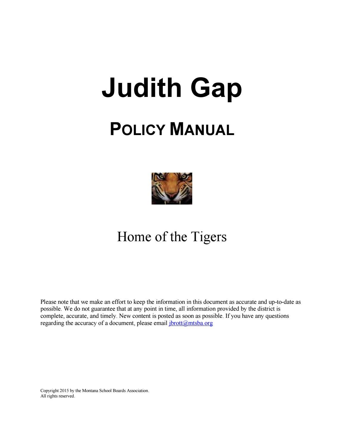 Judith Gap Public Schools Policy Manual by Montana School