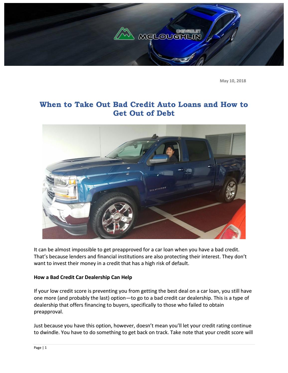 What Does Financing A Car Mean >> When To Take Out Bad Credit Auto Loans And How To Get Out Of