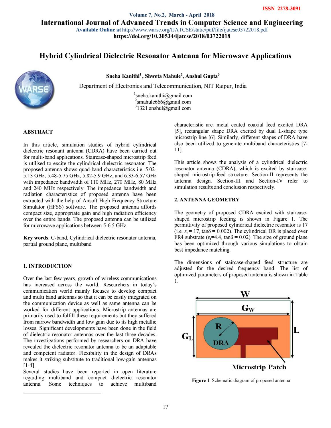 Hybrid Cylindrical Dielectric Resonator Antenna for Microwave