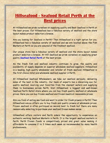 Hillseafood - Seafood Retail Perth at the Best prices by