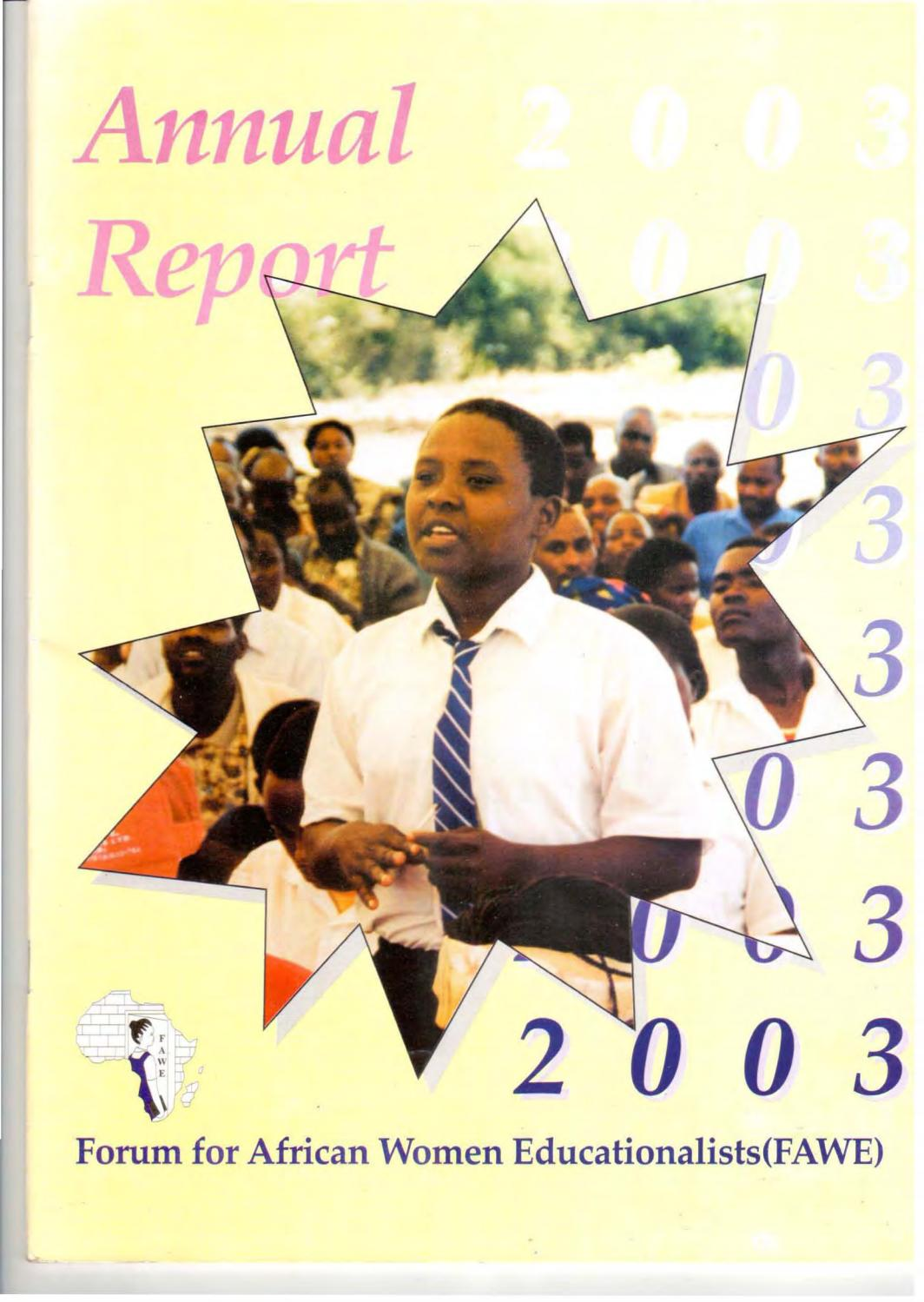 FAWE Annual Report 2003 By Forum For African Women Educationalists