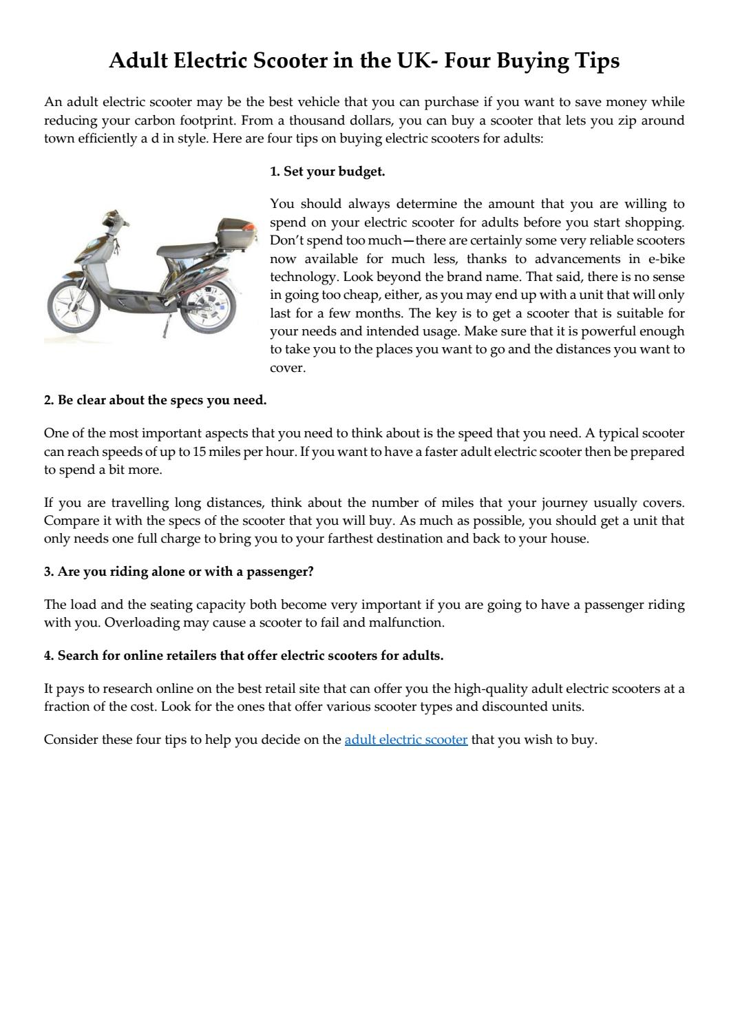 Adult Electric Scooter in the UK- Four Buying Tips by The
