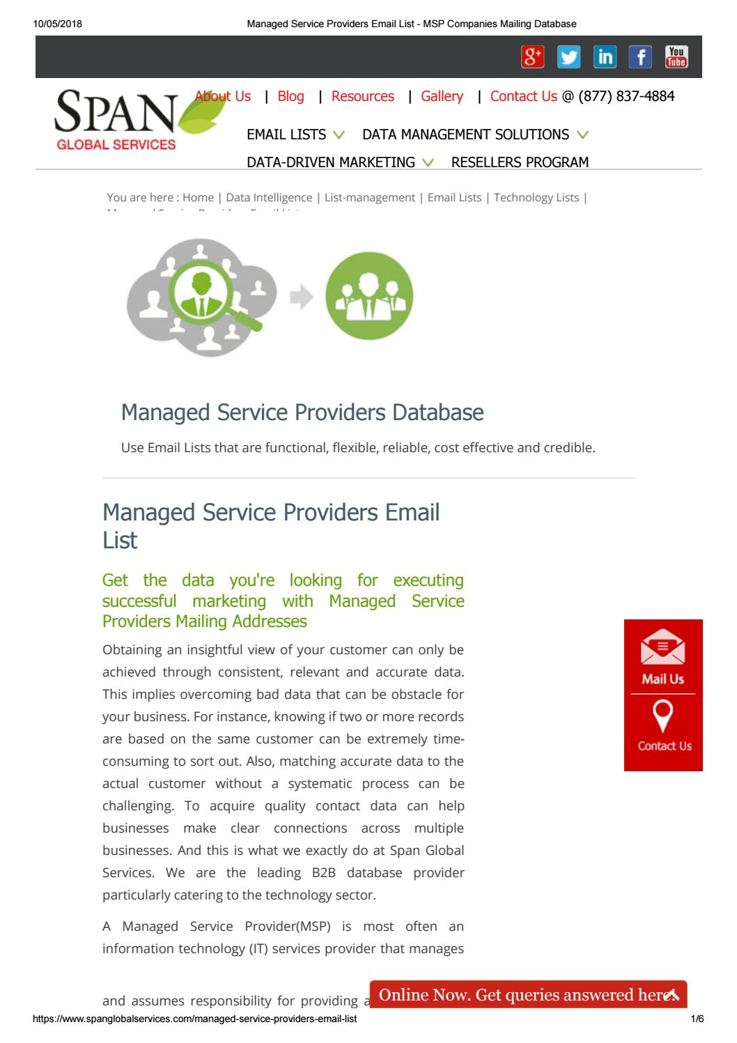Managed Service Providers Email List by Technology Users