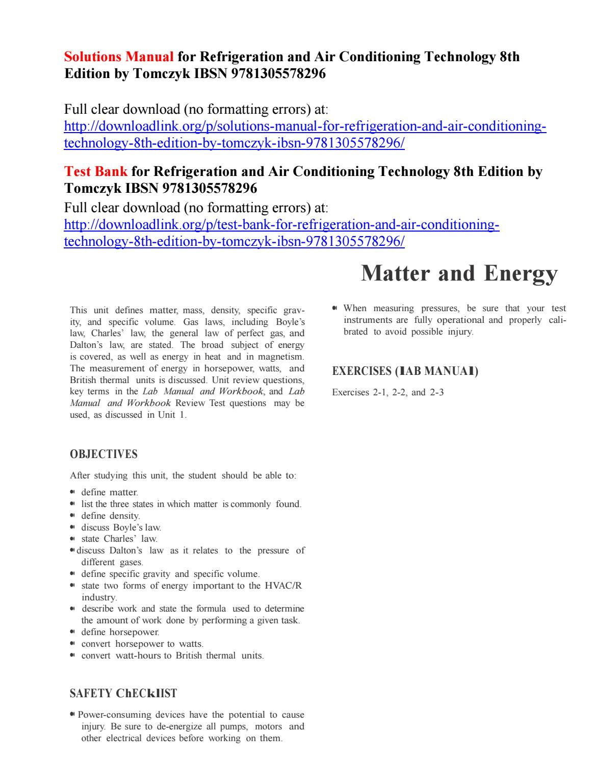 Solutions Manual For Refrigeration And Air Conditioning Technology 8th Edition By Tomczyk Ibsn 97813 By Twomey496 Issuu