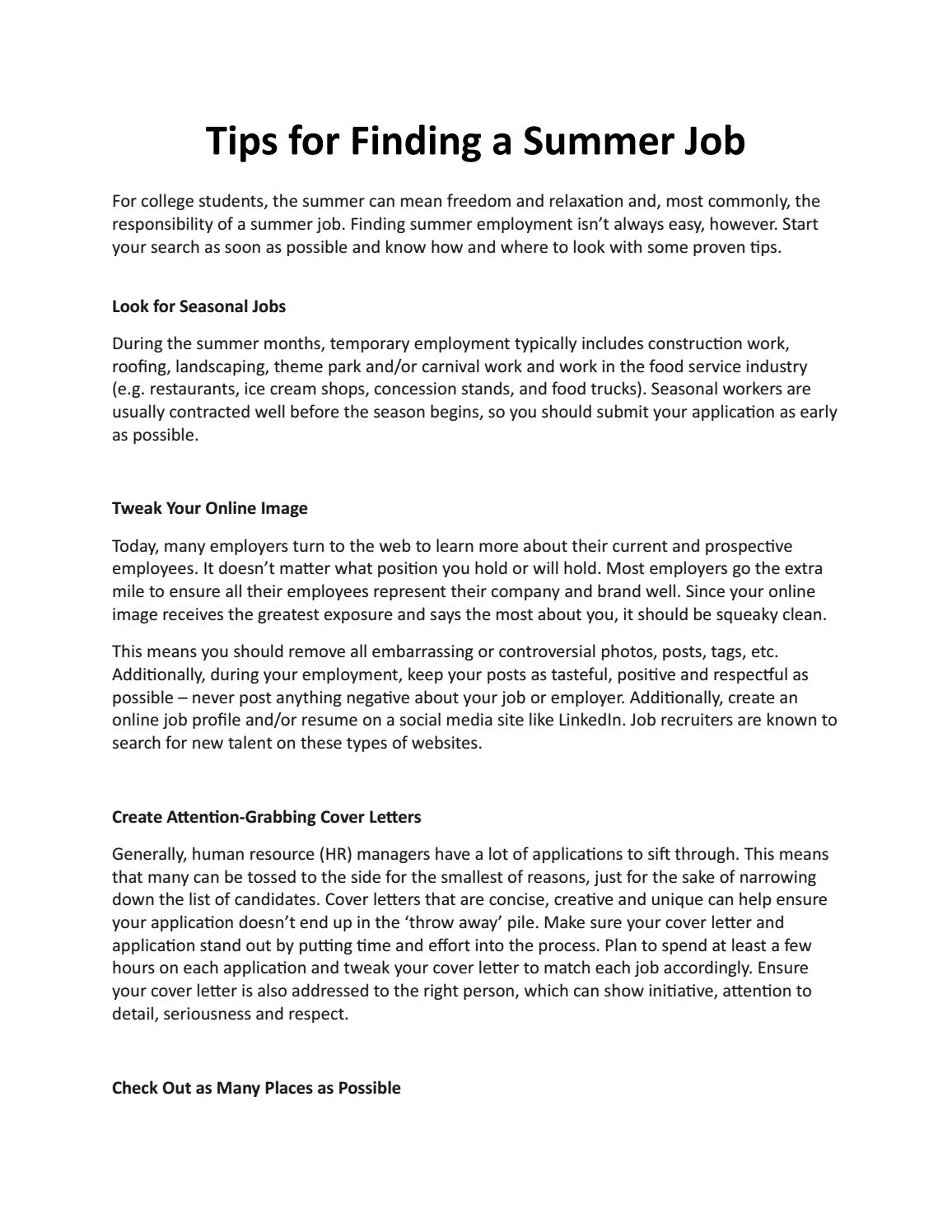 Tips for Finding a Summer Job by 1Eleven - issuu