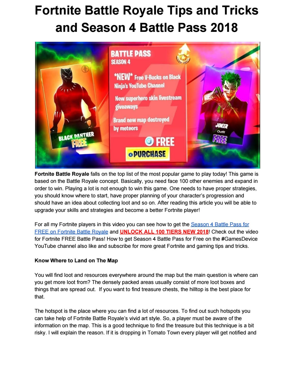 fortnite battle royale tips and tricks and season 4 battle pass 2018 by mike bike issuu - like and subscribe fortnite