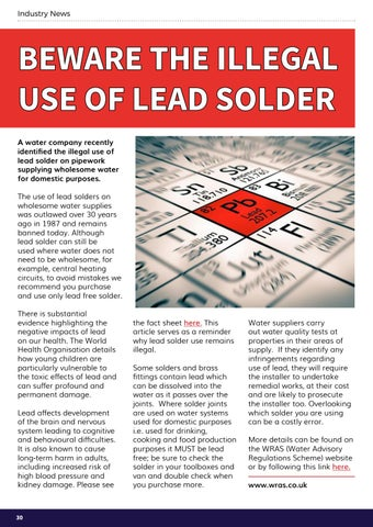 Page 30 of Beware the illegal use of lead solder ...