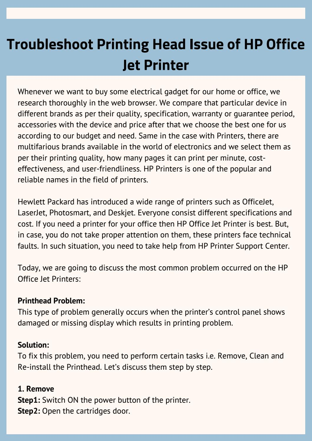 Troubleshoot Printing Head Issue of HP Office Jet Printer