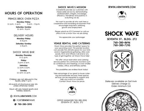 Shock Wave Menu by Fort Irwin Family and MWR - issuu