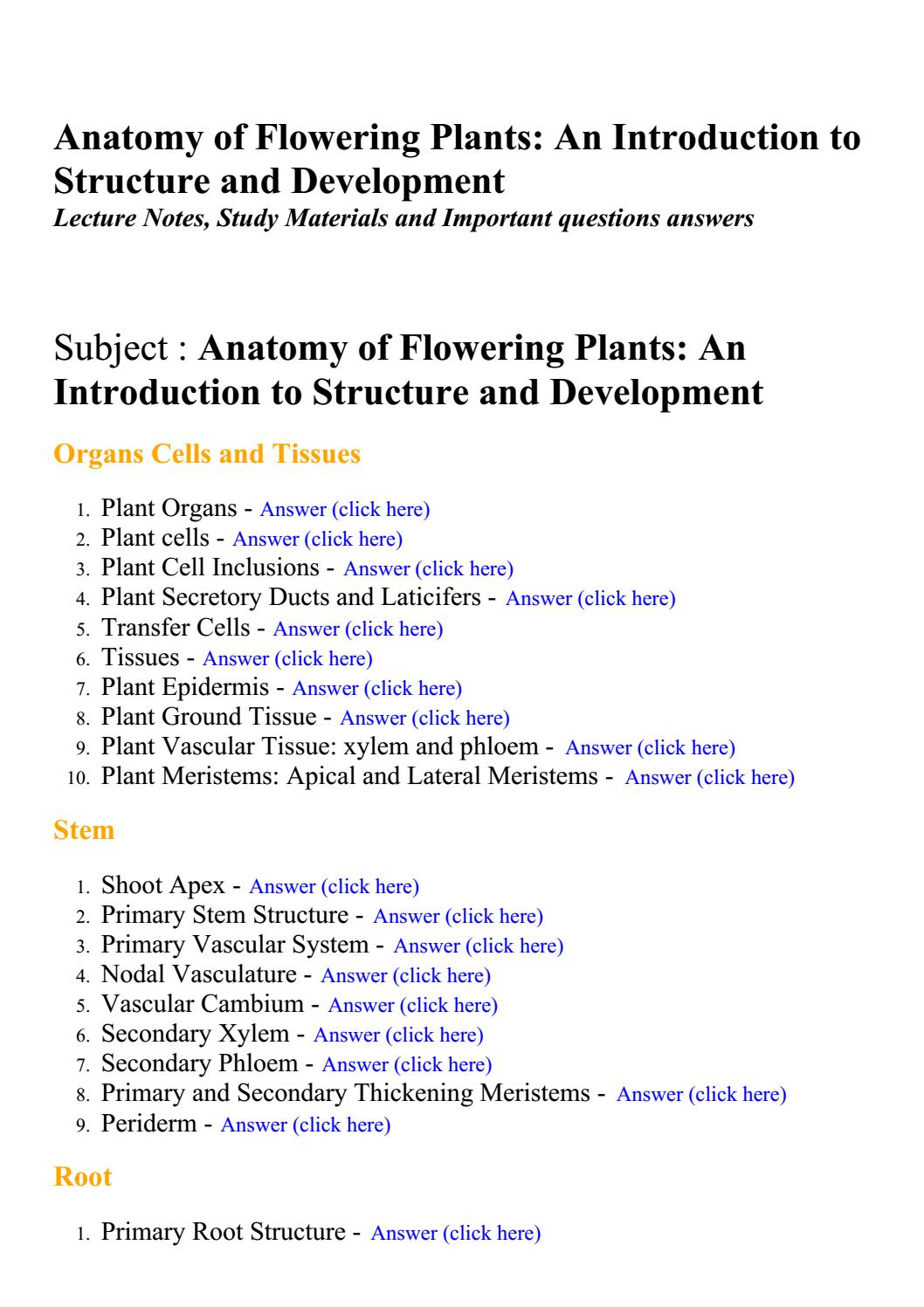Anatomy of flowering plants an introduction to structure and ...