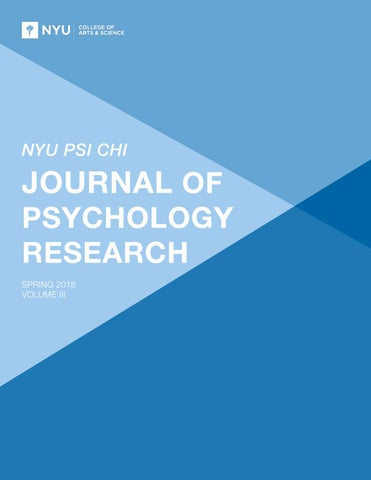 NYU Psi Chi Journal of Psychology Research, Volume III by