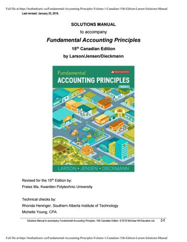 Fundamental Accounting Principles Volume 1 Canadian 15th Edition