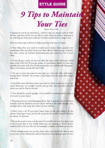 Page 70 of 9 Tips on Maintaining Your Ties
