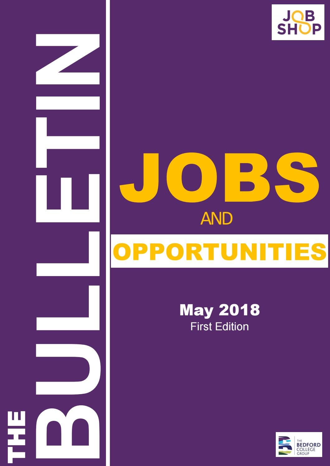 Jobs Opportunities Bulletin 1 May18 By The Bedford