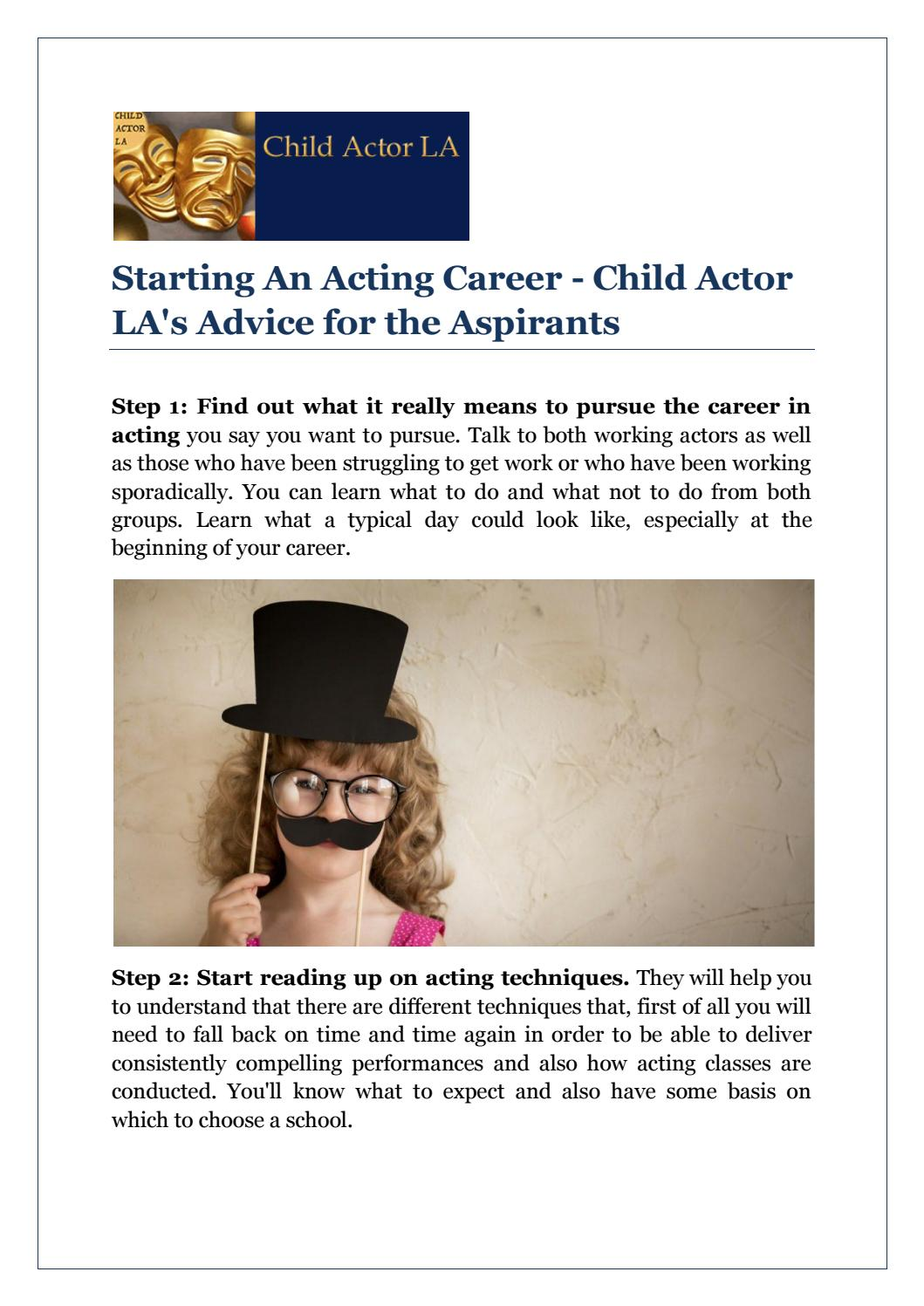 Starting An Acting Career - Child Actor LA's Advice for the