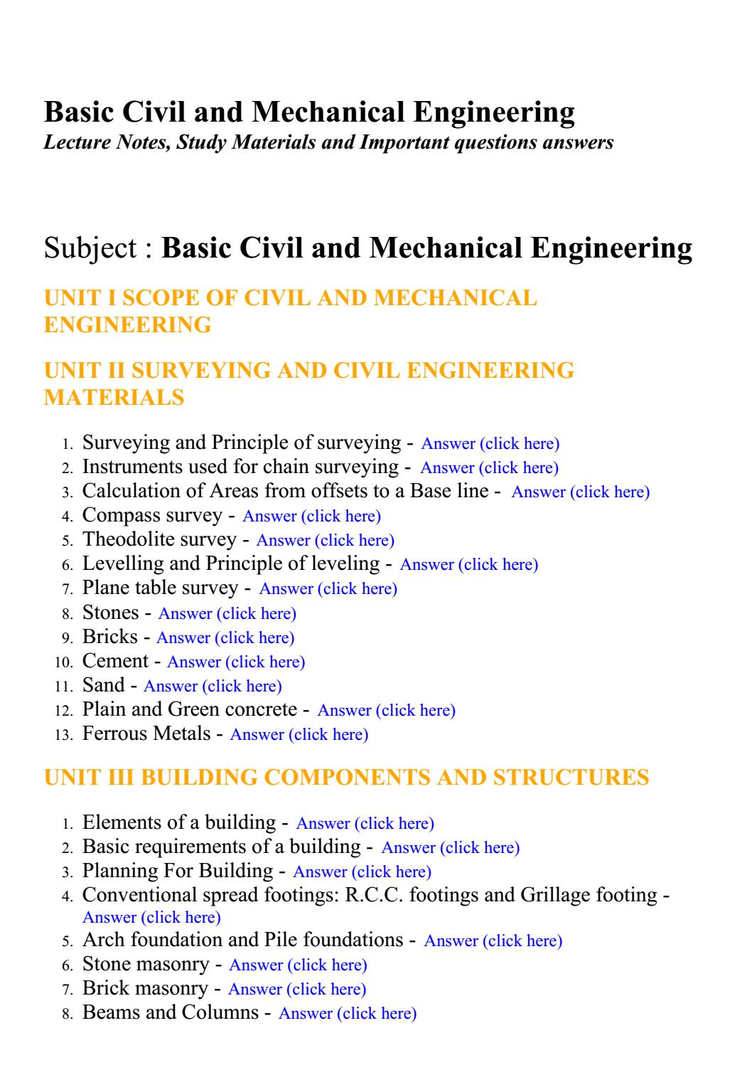 Basic civil and mechanical engineering - Lecture Notes