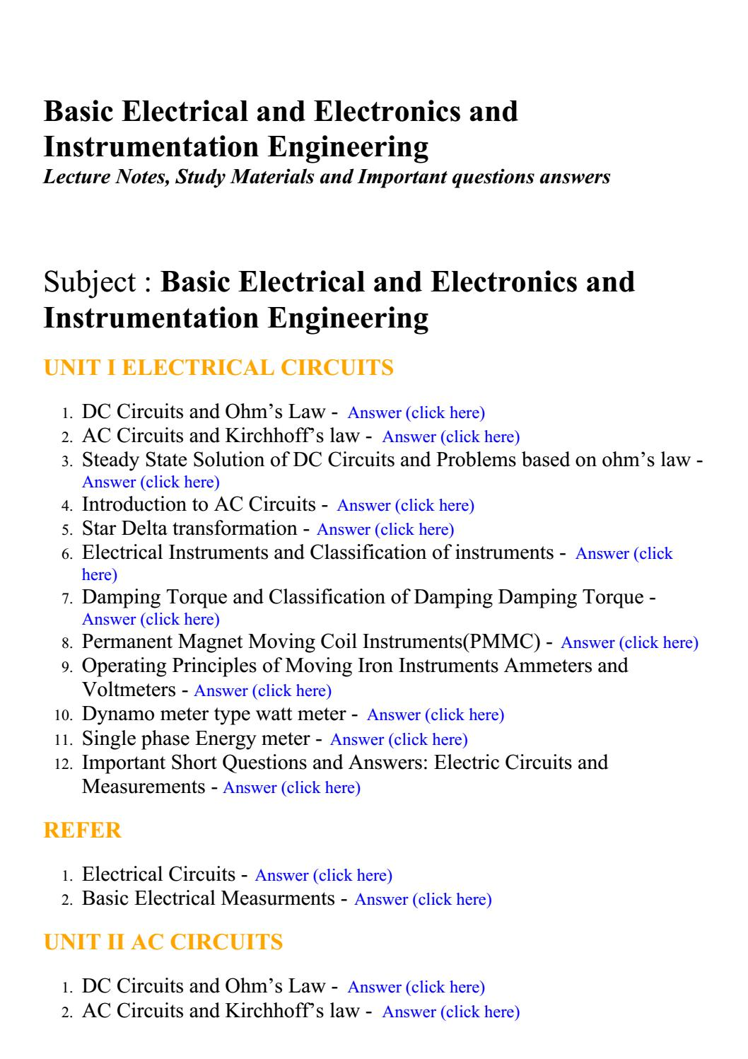 Basic Electrical And Electronics Instrumentation Engineering Electricalcircuits1 Lecture Notes Study Materials By Brainkart Com Issuu