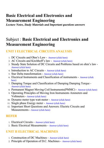 Basic electrical and electronics and measurement engineering
