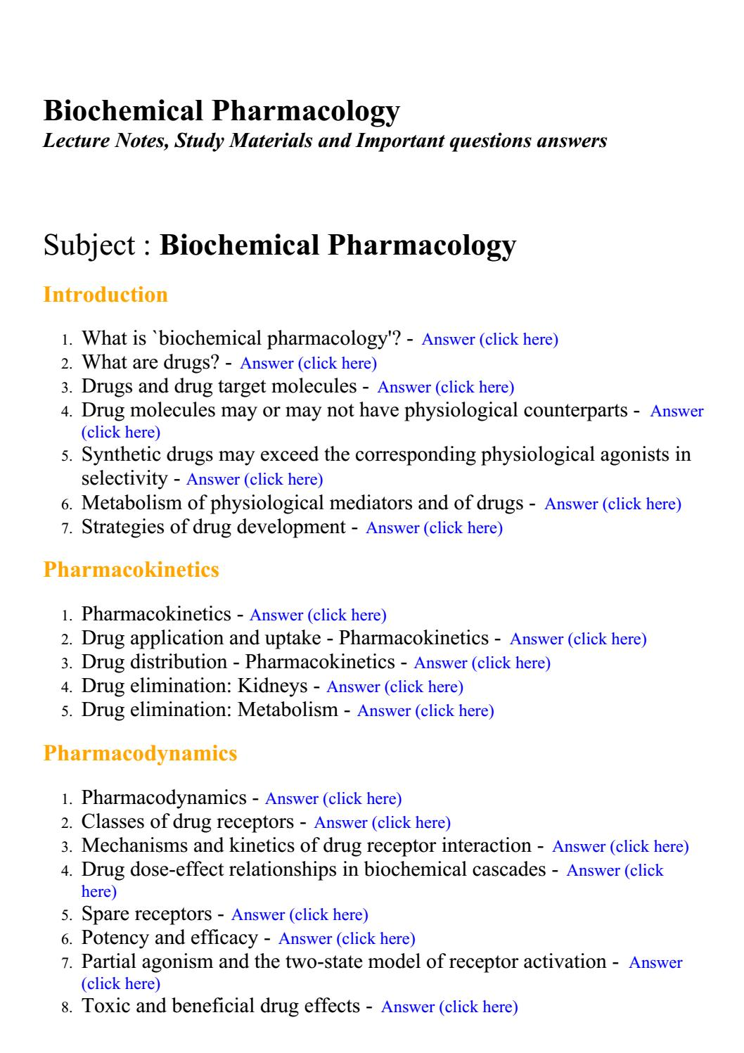 biochemical pharmacology answered questions