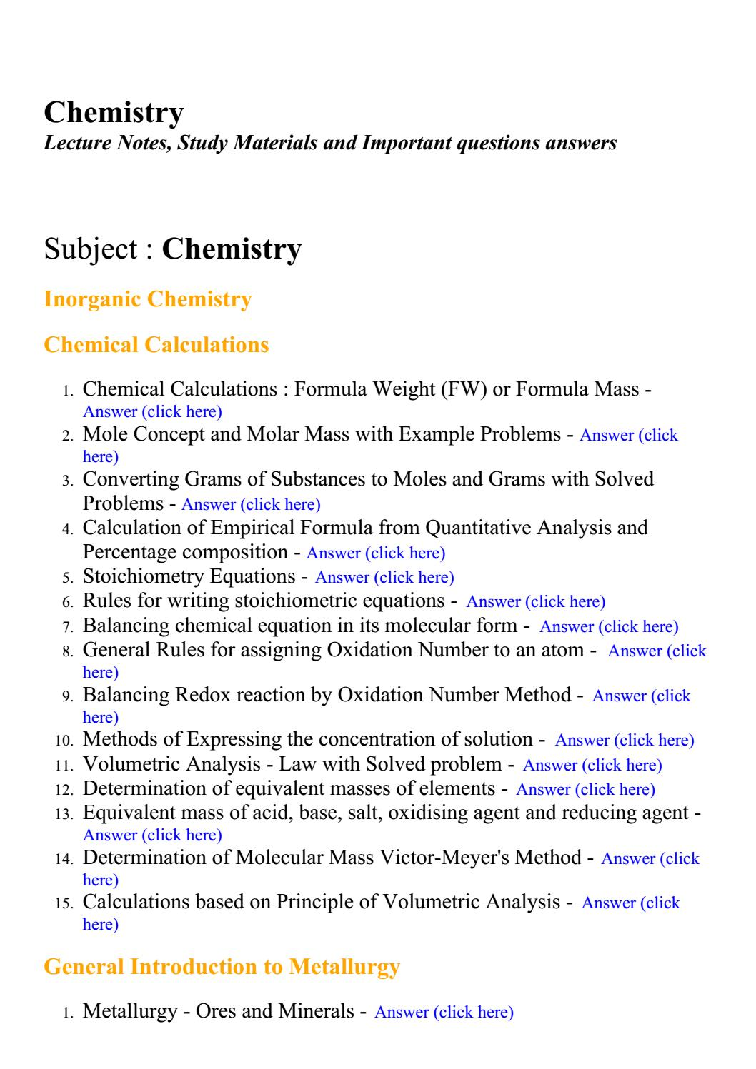 inorganic chemistry questions and answers