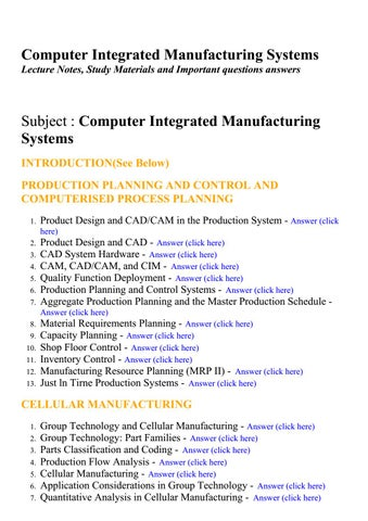 Computer Integrated Manufacturing Systems Lecture Notes Study Materials And Important Questions By Brainkart Com Issuu