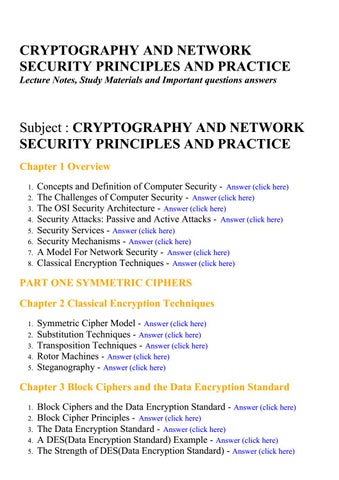 Page 1 CRYPTOGRAPHY AND NETWORK SECURITY