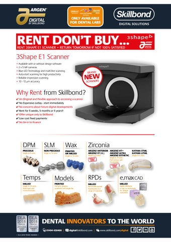 RENT DON'T BUY 3Shape E Series Scanners by Skillbond Direct
