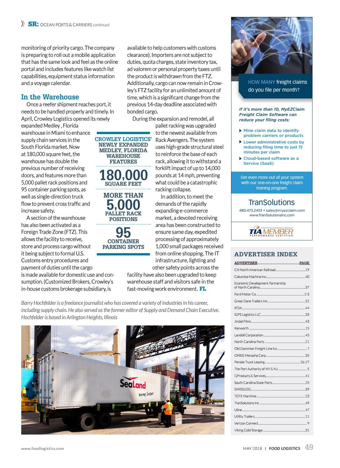 Food Logistics May 2018 by Supply+Demand Chain/Food Logistics - issuu