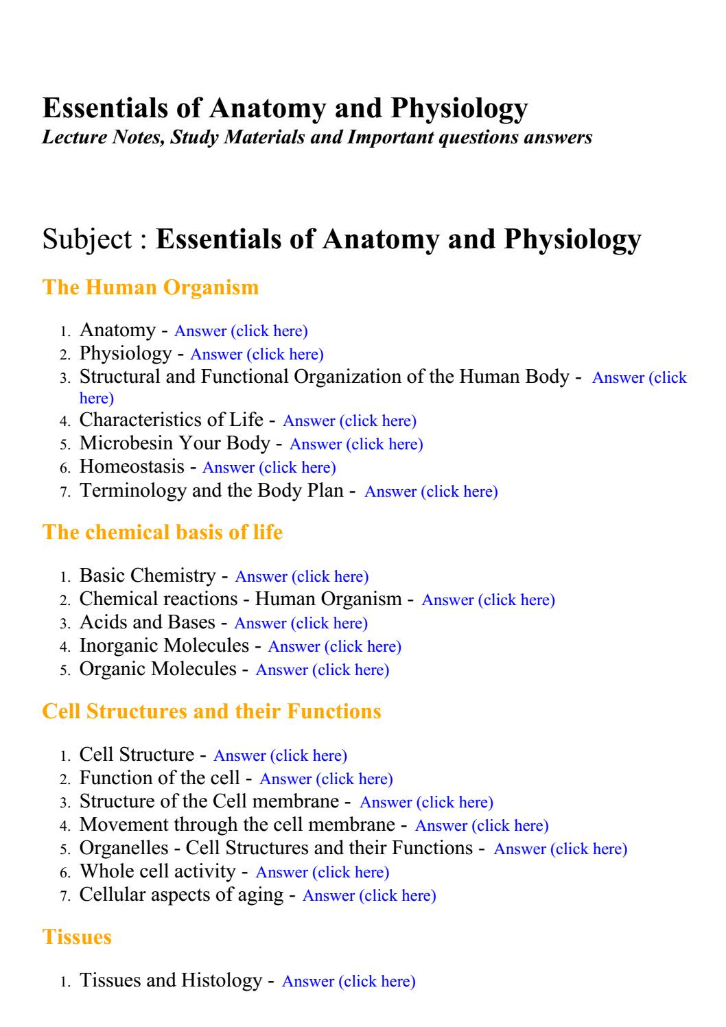 Essentials of anatomy and physiology - Lecture Notes, Study ...
